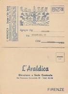 Firenze.  Cartolina Pubbliciaria  L'ARALDICA - Fatture & Documenti Commerciali