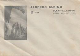 Plan. Val Gardena.  Lettera  Pubbliciaria  ALBERGO ALPINO - Fatture & Documenti Commerciali