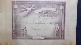 24- SARLAT- RARE DIPLOME ECOLE LAIQUE DE GARCONS-1933-1934- PRIX D' EXCELLENCE  A PIERRE POUYNAT -DISCOBOLE-TIR ARC - Diplômes & Bulletins Scolaires