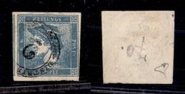 0007 ANTICHI STATI - LOMBARDO VENETO - Distribuzione 2 (P.ti 11) - 3 Cent (1-Giornali) - Diena + Cert. AG - Stamps