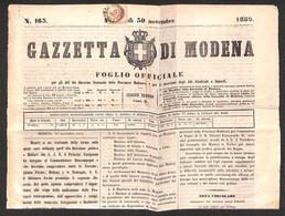 0008 ANTICHI STATI - LOMBARDO VENETO - 2 Kreuzer (3-Segnatasse) Tosato In Alto Su Gazzetta Di Modena 30 Novembre 1859 -  - Stamps