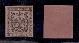 0015 ANTICHI STATI - MODENA - 1853 - 9 Cent (2-Segnatasse) - Leggerissima Piccola Traccia Di Linguella - Perfetto In Bas - Stamps