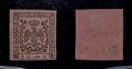 0016 ANTICHI STATI - MODENA - 1853 - 9 Cent Viola Lilla (2a-Segnatasse) - Invisibile Piccola Traccia Di Linguella - Fres - Stamps