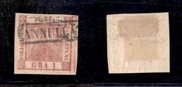 0019 ANTICHI STATI - NAPOLI - 1859 - 1 Grano (4f) - Doppia Incisione (posiz.10) - Molto Bello - Cert. AG (800) - Stamps