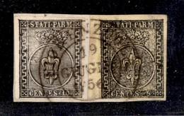 0032 ANTICHI STATI - PARMA - 1852 - 10 Cent (2) + 5 Cent (1b) Bordo Foglio - Fiorenzuola 19.6.56 - Raybaudi - Stamps