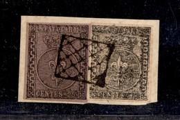 0033 ANTICHI STATI - PARMA - 1852 - Greche Larghe - 25 Cent (4a) + 15 Cent (3b) Con Stampa Povera Su Frammento - Moto Be - Stamps