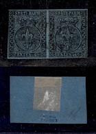 0034 ANTICHI STATI - PARMA - 1852 - 40 Cent (5a) - Coppia Orizzontale - Appena Corta A Sinistra - Diena + Cert. AG (5.00 - Stamps