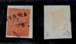 0038 ANTICHI STATI - PARMA - 1853 - 15 Cent (7e) Su Frammento - Molto Inchiostrato Con Tassello Inferiore Illeggibile -  - Stamps