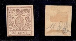 0041 ANTICHI STATI - PARMA - 1857 - 25 Cent (10) Ben Marginato - Diena (1.500) - Stamps