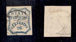 0043 ANTICHI STATI - PARMA - 1859 - 20 Cent (15) - G.Bolaffi + Diena (600) - Stamps