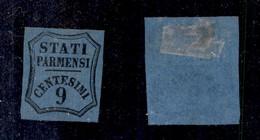 0046 ANTICHI STATI - PARMA - 1853 - 9 Cent (2-Segnatasse) - Senza Gomma - Cert. AG (450) - Stamps