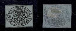 0048 ANTICHI STATI - PONTIFICIO - 1852 - Mezzo Bai (1b) - Filetti Completi - Molto Bello - Sorani (2.400) - Stamps