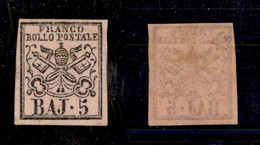 0053 ANTICHI STATI - PONTIFICIO - 1852 - 5 Bai (6) - Gomma Integra - Diena (900) - Stamps