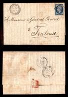 0058 ANTICHI STATI - PONTIFICIO - Posta Militare - 20 Cent (14-Francia) Corto A Destra - Letterina Da Roma A Tolosa Del  - Stamps