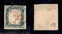 0067 ANTICHI STATI - SARDEGNA - 1855 - 5 Cent (13f) - Ottimi Margini - Diena (1.200) - Stamps