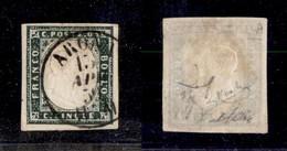 0068 ANTICHI STATI - SARDEGNA - 1857 - 5 Cent (13Ab) - Ottimi Margini - Oliva + Raybaudi (1.400) - Stamps
