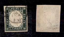 0069 ANTICHI STATI - SARDEGNA - 1857 - 5 Cent (13Ab) - Ottimi Margini - Sorani (1.400) - Stamps