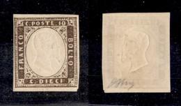 0074 ANTICHI STATI - SARDEGNA - 1858 - 10 Cent (14) - Invisibile Traccia Di Linguella - Oliva (2.000) - Stamps