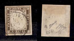 0075 ANTICHI STATI - SARDEGNA - 1858 - 10 Cent (14a) - Ottimi Margini - Oliva + Diena (850) - Stamps