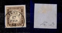 0076 ANTICHI STATI - SARDEGNA - 1858 - 10 Cent (14b) - Intra 17.2.58 - Molto Bello - Diena (850+) - Stamps
