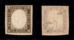 0077 ANTICHI STATI - SARDEGNA - 1860 - 10 Cent (14B) - Ben Marginato - Gomma Integra - Diena + Chiavarello + Cert. AG (2 - Stamps