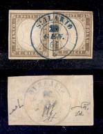 0078 ANTICHI STATI - SARDEGNA - 10 Cent (14Be) - Coppia Orizzontale - St. Ilario (azzurro-Pti.10) 20.1.61 - Ottimi Margi - Stamps