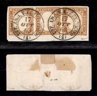 0079 ANTICHI STATI - SARDEGNA - Amb. Sez. Ticino (Pti.11) - 10 Cent (14E) - Striscia Di Tre Ben Marginata Su Frammento - - Stamps