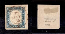 0081 ANTICHI STATI - SARDEGNA - Cavaglià (rosso-Pti.8) - 20 Cent (15f) Con Ottimi Margini Su Frammnento - G.Bolaffi - Stamps