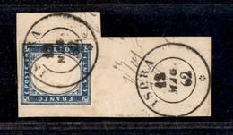 0085 ANTICHI STATI - SARDEGNA - Ispra 12.5.62 (Pti.12) - 20 Cent (15Dd) Con Ottimi Margini Su Frammento - Stamps