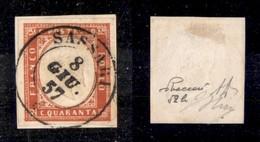 0086 ANTICHI STATI - SARDEGNA - 1855 - 40 Cent (16c) - Ottimi Margini - Sassari 8.6.57 - Molto Bello - Oliva + Diena + V - Stamps