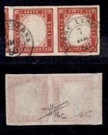 0088 ANTICHI STATI - SARDEGNA - 1860 - 40 Cent (16C) - Coppia Orizzontale - Ottimi Margini Con Parte Di Vicino - Torre L - Stamps
