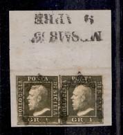 0097 ANTICHI STATI - SICILIA - 1859 - 1 Grano (5a) - Coppia Orizzontale - Buoni Margini - Diena (1.000+) - Stamps