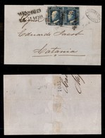 0100 ANTICHI STATI - SICILIA - 2 Grana (7d) - Coppia Orizzontale Precisa In Basso - Lettera Da Messina Del 14.5.59 - Cer - Stamps