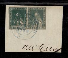 0115 ANTICHI STATI - TOSCANA - Governo Provvisorio - Bagno (azzurro-Pti.13) 6.12.59 - 4 Crazie (14) Corto A Destra + 2 C - Stamps