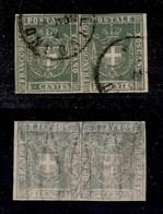0118 ANTICHI STATI - TOSCANA - 1860 - 5 Cent (18) - Coppia Orizzontale - Perfetta In Alto - Molto Bella - Diena (850) - Stamps
