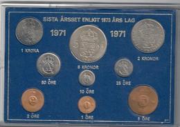 Svezia Sveriges Set 9 Coins 1971 1 Ore - 5 Kronor - Svezia