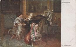 Künstlerkarte AK H. Temple Gem. Musikzimmer Art Malerei Wiener Kunst Wien Österreich Austria Autriche - Künstlerkarten