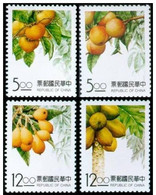 1993 Taiwan Fruit Stamps Persimmon Peach Loquat Papaya Flora - Agriculture