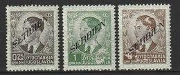 Serbien / Freimarken. Neuauflagen Von Jugoslawien Mit Aufdruck Von Links Unten  / MiNr: 31, 33, 41 - Besetzungen 1938-45