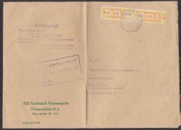 Finsterwalde Niederlausitz ZKD B17C(2) -Doppelbrief Mit Aufbewhrungsstempel Nach Dresden Von Tischfabrik, Bf Gefaltet - DDR
