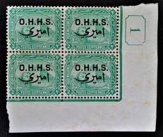 SURCHARGES 1907 - BLOC DE QUATRE NEUF ** - YT 3 - MI 3 - COIN DE FEUILLE - Service