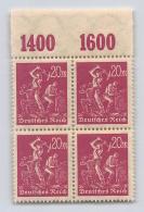 DR, Mi. 241 Y P OR **, VB, Viererblock, Infla, Arbeiter, - Unused Stamps