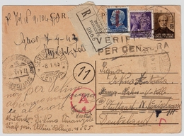 Italia, 1945, Intero Raccom. Al Germania,8.1.1945 , Molto Tarde ! #8977 - Storia Postale