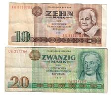East Germany DDR Lot Set 2 Banknotes - [ 6] 1949-1990 : RDA - Rep. Dem. Alemana