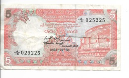 CEYLON 1 Billet De 5 RUPEE (5 Roupies) De 1982 Bon Etat N° A/16 - 025225 - Sri Lanka