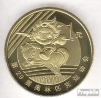 Volksrepublik China KM-Nr. : 1812 2008 Stgl./unzirkuliert Messing Stgl./unzirkuliert 2008 1 Yuan Olympische Spiele Reite - Chine