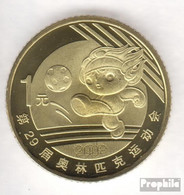 Volksrepublik China KM-Nr. : 1810 2008 Stgl./unzirkuliert Messing Stgl./unzirkuliert 2008 1 Yuan Olympische Spiele Fußb - Chine