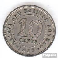 Brit. Malaya Und Nordborneo 2 1953 Sehr Schön Kupfer-Nickel Sehr Schön 1953 10 Cents Elizabeth II. - Malaysie