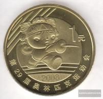 People's Republic Of China Km-number. : 1811 2008 Stgl./unzirkuliert Brass Stgl./unzirkuliert 2008 1 Yuan Olympics Games - China