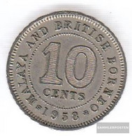 British. Malaya And Nordborneo 2 1953 Very Fine Copper-Nickel Very Fine 1953 10 Cents Elizabeth II. - Malaysia